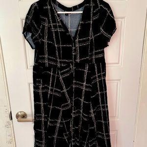 Black Chain-Link Grid Button Dress